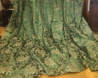 """1950s, 2 pair (4 panels), 45""""×76"""", green satin rayon brocade drapes"""