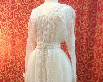 "1914, 36"" bust , elaborate cotton lace on net, wedding dress."