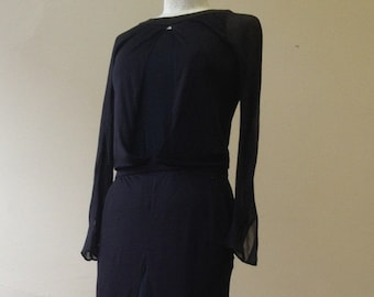 "1990's, CHANEL 34"" bust, black chiffon gown"