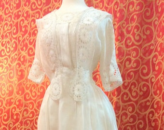 """1915, 38"""" bust, white fine linen and eyelet day dress."""