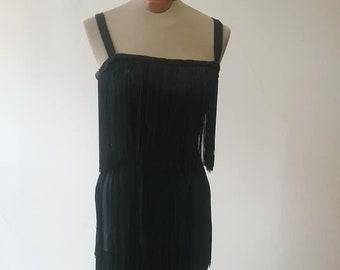 "1950's, 34"" bust, 3 tiered fringed black crepe sheath ( a la 1920's)"