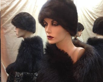 "1960's, size 22"", dark brown ranch mink pill box hat"