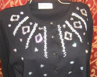 "1950's, 38""bust, black  decorative Orlon cardigan sweater"