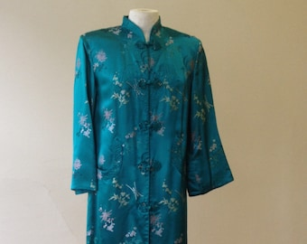 "1960's, 36"" bust, emerald green Chinese brocade coat/robe"