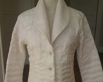 "1990's, 38"" bust, white silk quilted jacket with stitched round lapels"