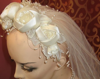 """1950's, 8"""" from side to side, wedding veil and crown."""