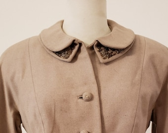 "1950s, 36"" bust, tan wool gabardine suit"