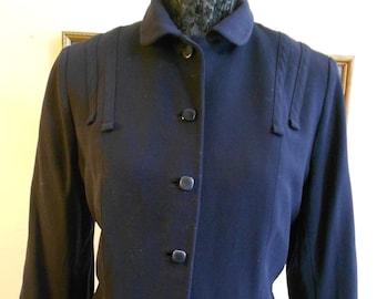 """1950's, 42"""" bust, dark navy blue rayon gaberdine ladies jacket."""
