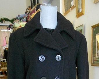 """1950's, 38"""" chest,  black heavy wool pea coat"""