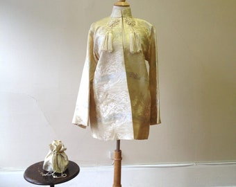 "1940's, 40"" bust white on white Chinese brocade jacket"