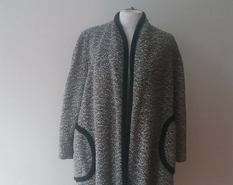 """1950s, 42"""" bust,  black and white tweed coat"""