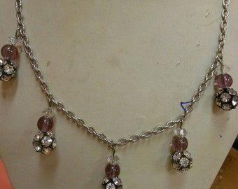 "1950's, 20"" long, silver toned metal chained, rhinestone, necklace"