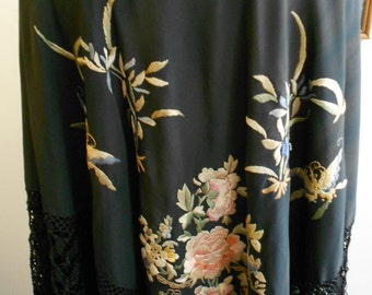 "1915-1920, 51""x51"", black silk shawl with long macrame-and silk fringe"