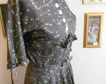 "1950's, 36"" bust, gray acetate  print dress, with sprays of blue and  yellow flowers"