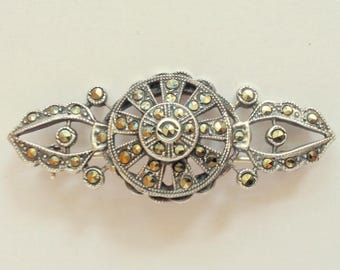"1930's, 2""x1/2"", sterling marcasite pin"
