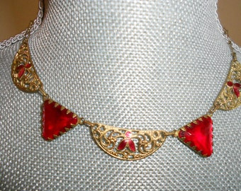 "1930's, 16"" long, art deco necklace of triangular, cherry red  glass"