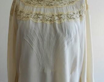 """Parisian 1950's, 36"""" bust, ecru silk, long sleeved blouse"""