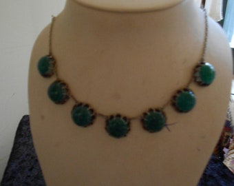 "1930's 16""  long, apple green glass necklace/earring set"