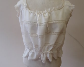 "1918, 42"" bust, white batiste cotton lace inserted camisole"