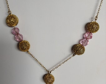 "1930's, 17 1/2"" long, necklace of pink crystal and gold f"