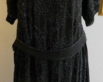 1920's black glass beaded Art Deco dress