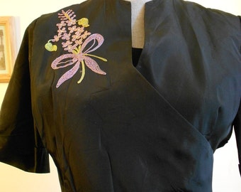 "1950's, 40"" bust, black taffeta dress, with embroidered bouquets   of lilacs"