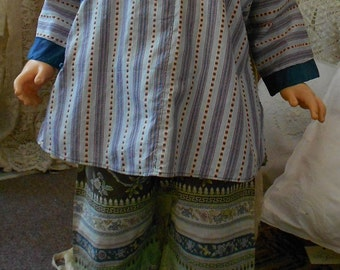 """1920's, 28"""" chest, 2 piece Chinese cotton printed set of traditional Chinese top  and pants"""