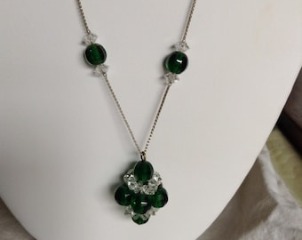 "1920's, 19"" long, clusters of greenglass and crystal beads"