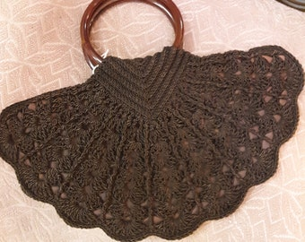 """1930s, 14"""" wide, hand crocheted, silk cord brown  purse with faux tortoise shell handle"""