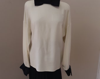 "1980s, 38"" bust, silk white blouse"