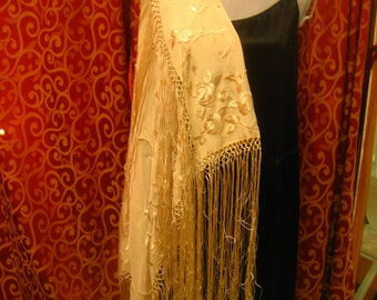 "1920', 40""x40"", embroidered silk ecru white  shawl with macrame edge"