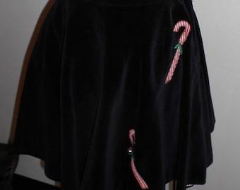 """1950's, 26"""" waist, short circle, black velveteen candy cane skirt"""