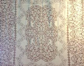 "1930's, 66""x84"",  off white Quaker lace cotton table cloth"