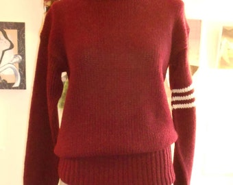 "1950's , 42"" chest, hand knit maroon rugby sweater."