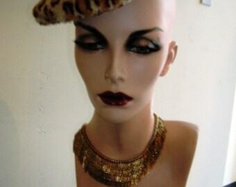1950's  leopard print beret hat