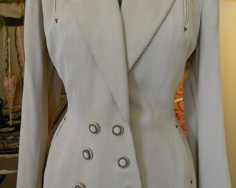 "1940's, 37"" bust, light tan wool crepe jacket."