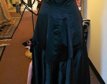 "1950', 34"" bust, pure silk black satin strapless ball gown"