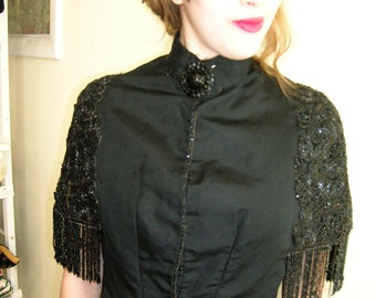 Portrait of a Lady 1890's small stunning jet beaded and fringed cape