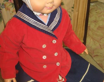 "1940's, 22"" chest, 3-4 year old, red corduroy sailor jacket with navy blue collar"