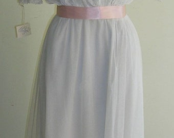 1918 White net, layered middy wedding or tea gown