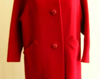 1960's large red bouclé wool lady's coat, with round ranch mink collar