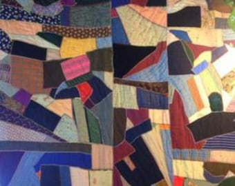 "1900-1920, 72""x85"", silk, wool, cotton, velvet, embroidered edged crazy quilt"