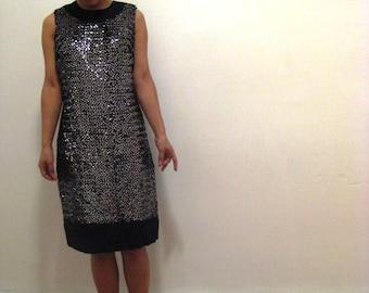 1960's medium size black iridescent sequined sleeveless shift