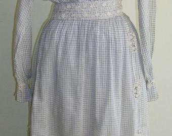 1918 Black and white batiste cotton check, two piece dress