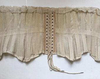 "1880s. 24"" waist, off white colored cotton mesh bones corset"