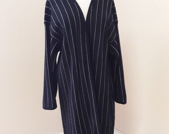 "1990s, 40"" bust, 2 piece, white thin striped ny Michael Kors blue cashmere suit"
