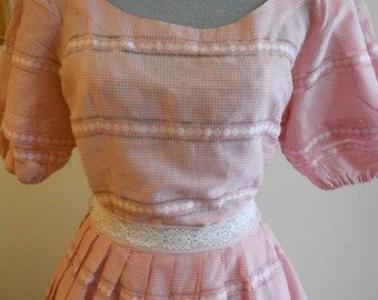 "1950's, 34"" bust, tiny pink and white check cotton dress"