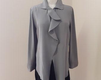 "1980s, 36"" bust, gray Armani silk blouse"
