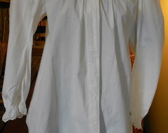 "1890's, bust 34"", white cotton broadcloth bed jacket."