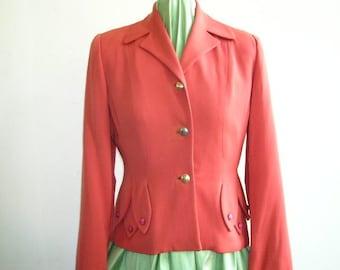 1940's Coral Gabardine Blazer